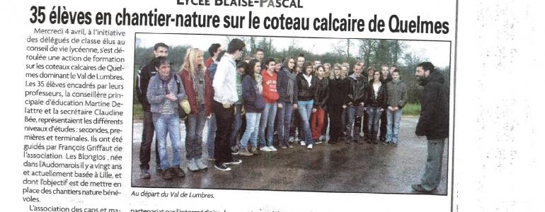 Coupon de presse, chantier nature blongios avec des lycéens