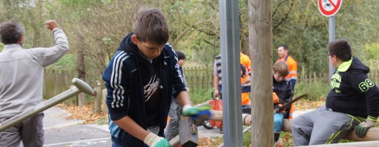 Nettoyage des outils en fin de chantier.